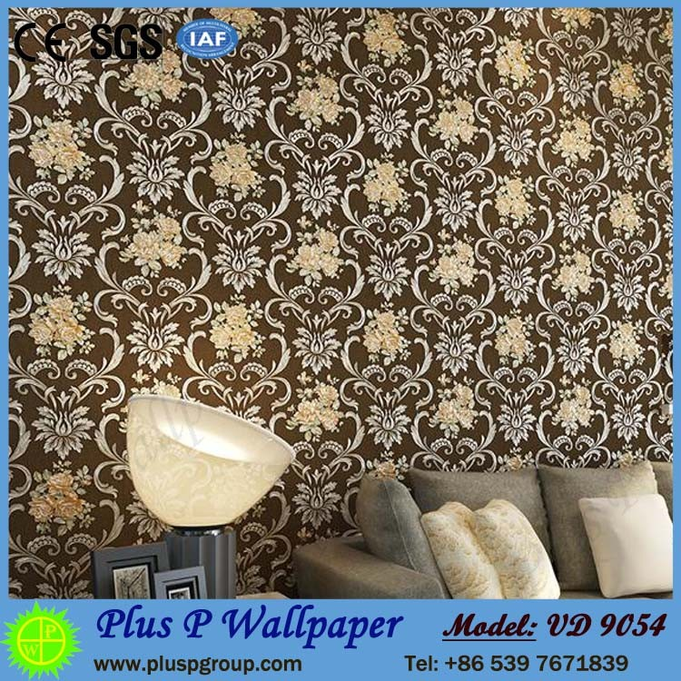 Plus P modern home interior european embossed pattern luxury washable PVC wallpaper