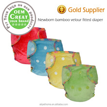 Newborn bamboo velour diaper natural bamboo fitted diaper fit baby from 2.8-5kg AI2 NB bamboo fitted cloth diaper