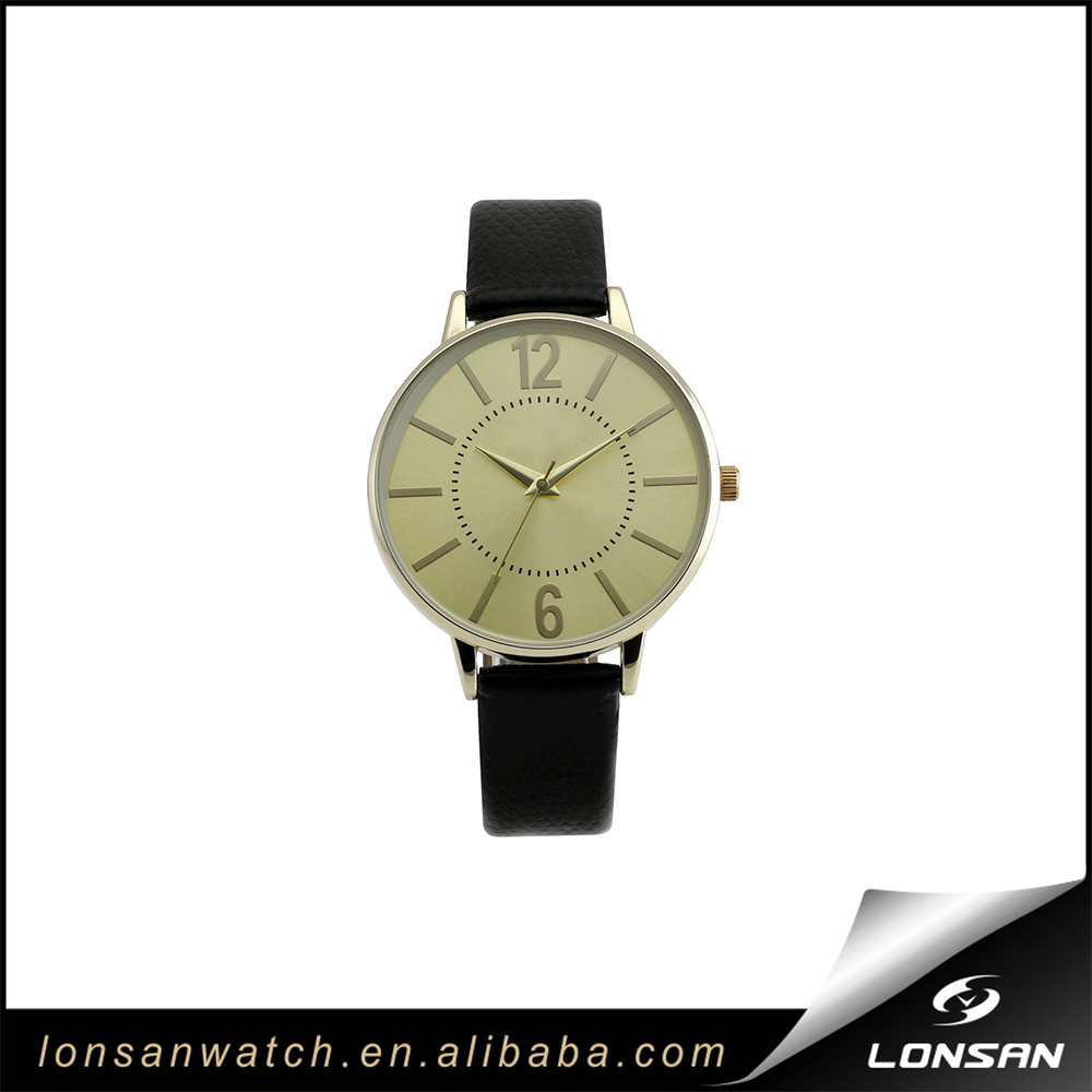 Fashion Gold Tone Ladies' Leather Strap Watch