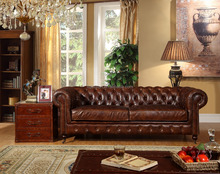 hot sell antique aviator genuine leather chesterfield vintage sofa