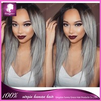 Ombre color full lace wig Two Tone Color #1b T/grey Fashion Wave full lace wig 100% Virgin Brazilian Human Hair Full Lace wig
