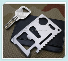 Multi Outdoor Camping 11 Functions in 1 Survival Card Knife Multifunction Card Tool Pocket Saber Card with Black Holster