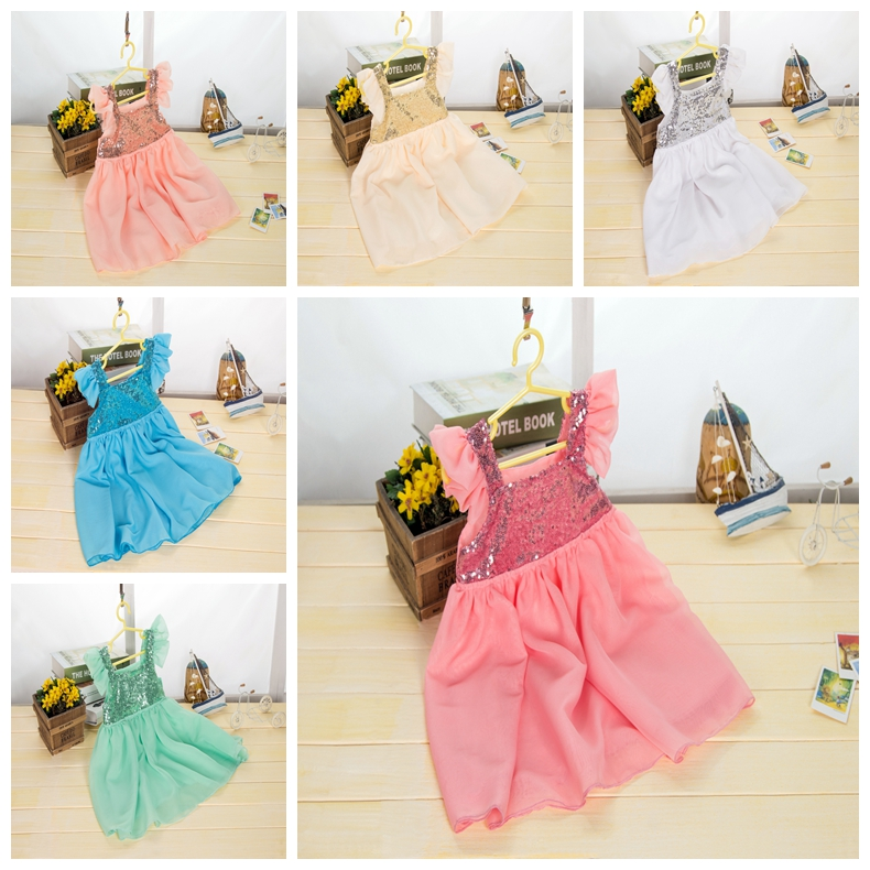 Wholesale multi-color party sparkle princess sleeveless dresses baby girls summer birthday cheap sequin dress