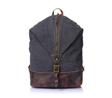 G-Favor YD-2108 Vintage Crazy Horse Leather Canvas Hiking Backpack14inch Laptop Bag School Bag