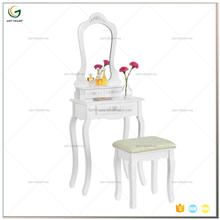 Classic White Wooden Dressing Table with Mirror and Stool Furniture Set