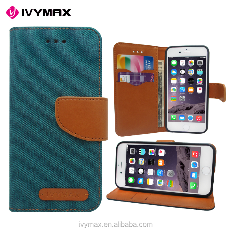 Wholesale dual color convas pouch case with credit card for iphone 6 folio flip case cover