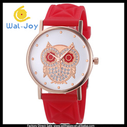 WJ-4952 owl dial design grid silicone watch strap