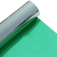 MOQ 1 roll green silver reflective film for building window glass heat resistant