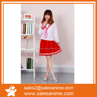 New Hot Japanese Anime Lucky Star Red Long sleeve young Girl Uniforms Cosplay Costume