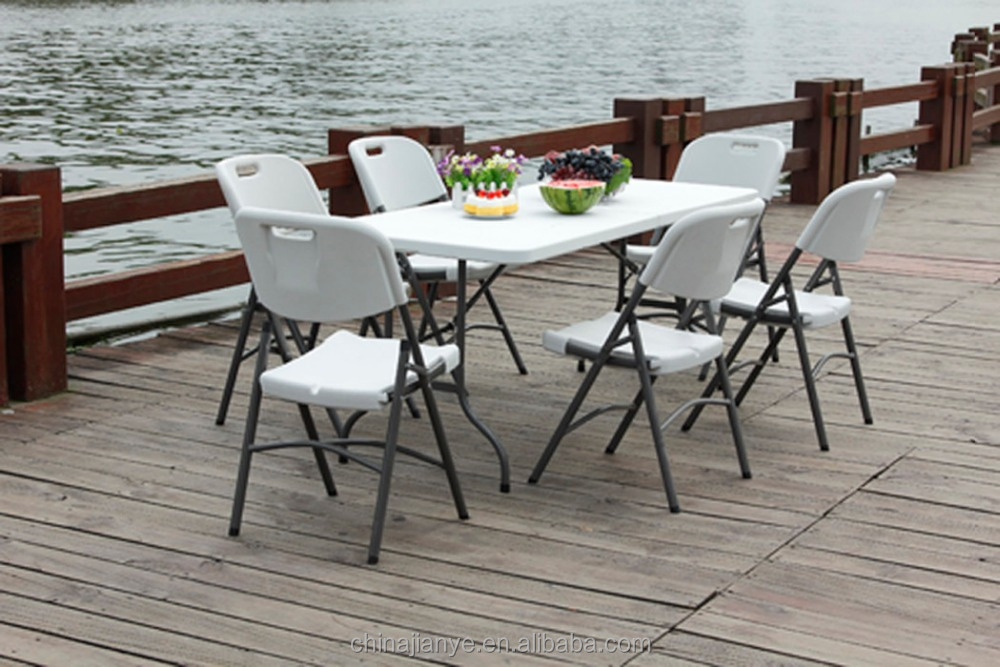 Cheap Blow Molded Folding Outdoor Plastic party tables and chairs for sale