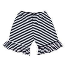 New fashion wholesale bloomer black strip ruffle shorts persnickety summer kids petti shorts boutique toddler girls