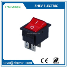 KCD4 - 201 big current 20A 25A lighted red electric welder rocker switch t85 silver copper contacts 4pin