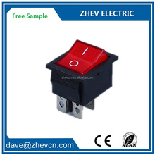 KCD4 - 201 big current 20A lighted red electric welder rockerswitch t85 silver copper contacts 4pins rocker switches