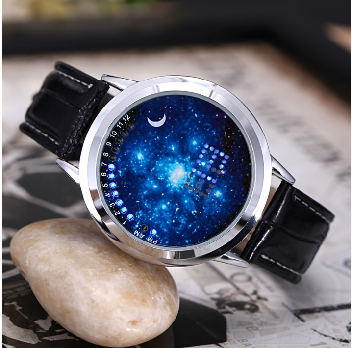 New design fasion Power reserve LED touch screen watch with black leather strap