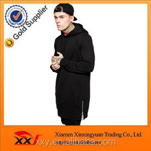 custom mens plain black heavy thick tall hoodies with side zippers wholesale
