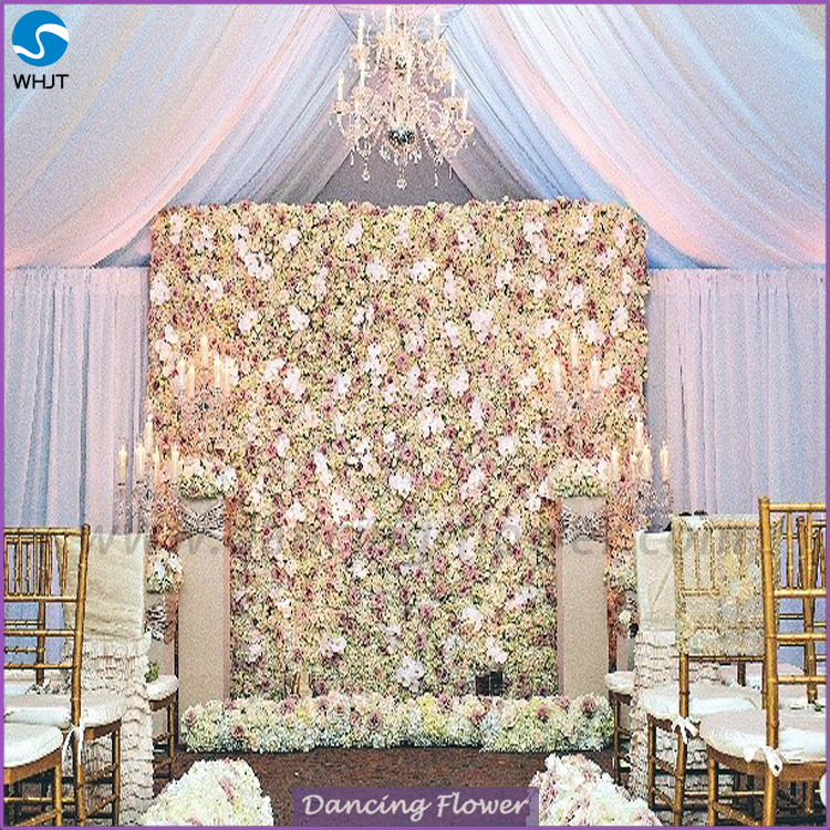 Artificial Ivory paper flower wall for wedding backdrop