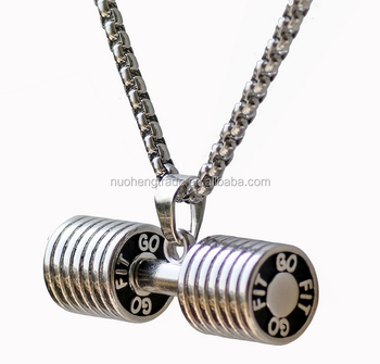 Dumbbell Stainless Steel Pendant Necklace Bodybuilding Gym Weight Crossfit Barbell Necklace Fitness Jewelry