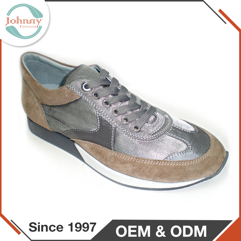 Top Quality Custom Brand Suede + Satin Upper Mens Flat Sole Shoes
