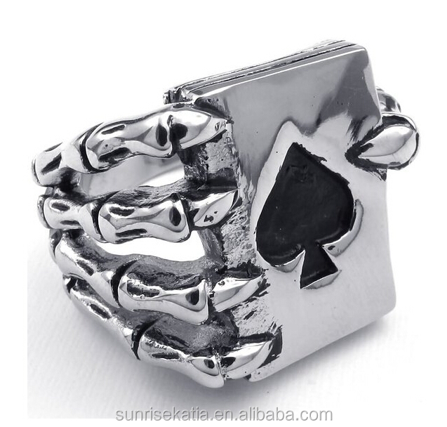 Vintage Style Stainless Steel Men <strong>Rings</strong> Gothic Skull Hand Claw Poker Playing Card Design <strong>Rings</strong> For Men Black Tone anillos hombre