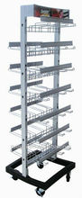 Retail Store modular, two side wire Metal Display Racks / shelf with multiple hooks