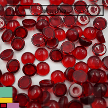 China round cabochon garnet red glass stones clear flat back glass beads