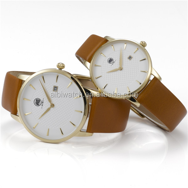 branded oem your logo quality fashion leather band pair watches for lovers