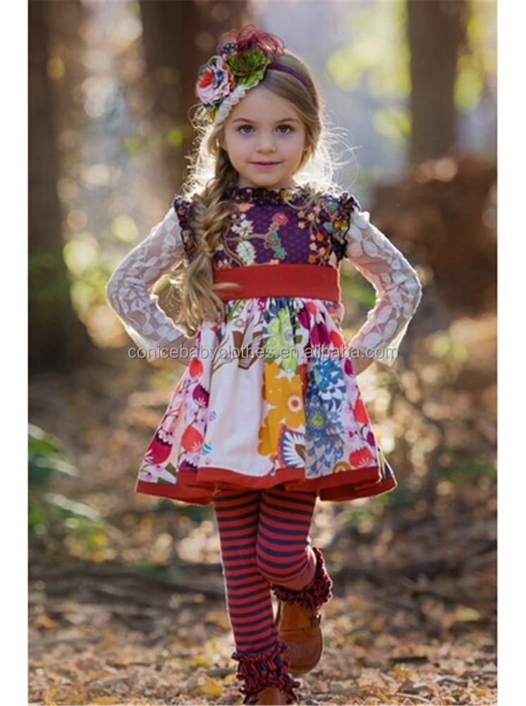 factory direct supply stripes floral fall kids clothing wholesale from online market