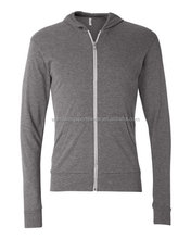 Unisex dark grey 50% polyester/ 25% combed, ring-spun cotton/ 25% rayon fashionable tri-blend Triblend Lightweight Hoodie