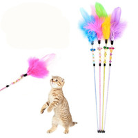 Cheap Funny Play Cat Toys Pet Accessory Cat Teaser Feather Playing Wand For Exercise Pet Toys