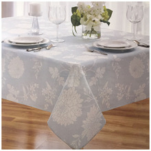 Jacquard design fabric woven plain blue 100%polyester rosette table cloth