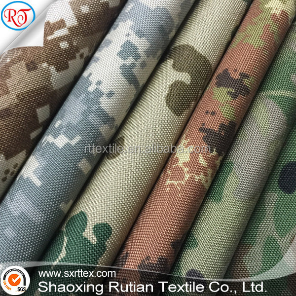 Camouflage Nylon Cordura 1000D PU oxford fabric