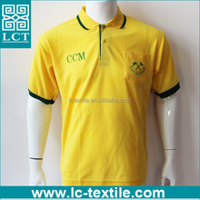 custom silk screen print 65%polyester/35%cotton CVC yellow color CCM advertising promotion polo shirt for national day(LCTN1558)