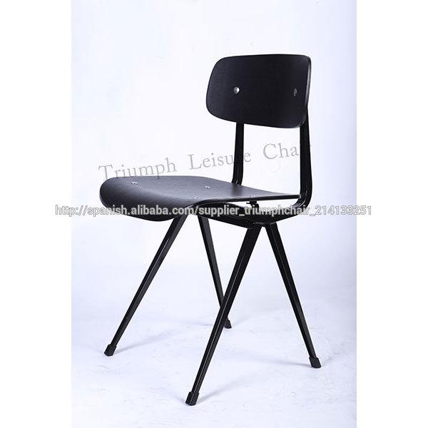 Triunfo vintage negro metal silla de comedor vinyl cafe for Sillas para comedor industrial