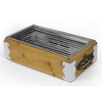 Portable Square Tabletop Bamboo BBQ Grill Restaurant Table Hibachi Small Barbecue grill
