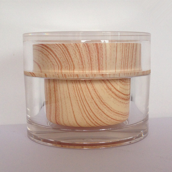Luxury Double Wall Acrylic Cosmetic Wooden Jar Packaging 2ml 5ml 10ml 15ml 20ml 30ml