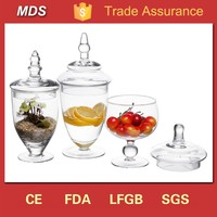 Clear bulk decorative glass apothecary jars with lids
