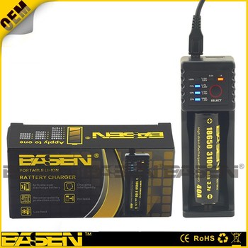 Factory prices. Basen Lcd BS1 one bay portable li-ion intelligent battery charger of BASEN 18650 battery and charger