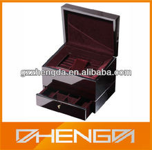 Best Sell custom made luxury glossy wooden watch and cufflink box with drawer (ZDS-F231)