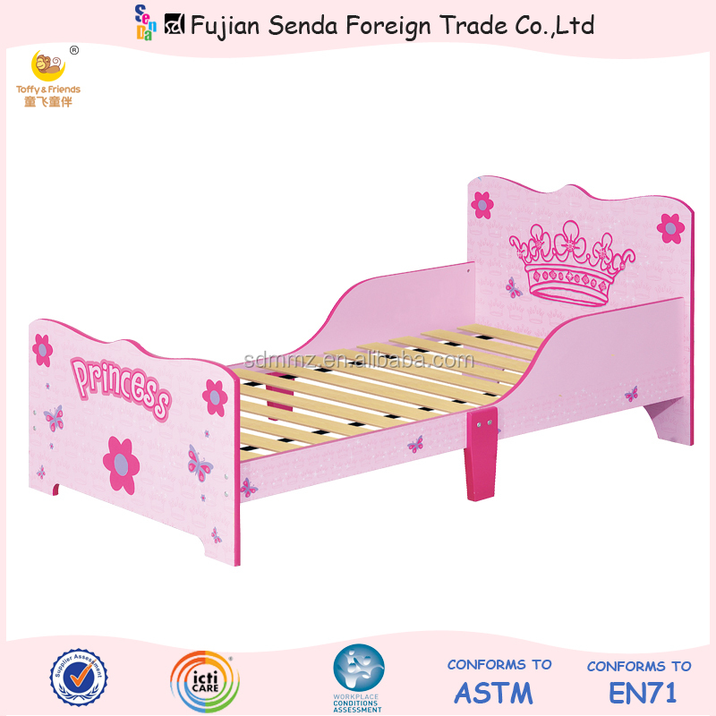Wooden Kid Toddler Bed With Bedside Board