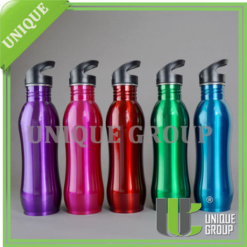 18/10 High Quality 750ml Curved Shape Singel Wall Stainless Steel Water Bottle with Sports Lid