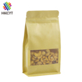 Doypack kraft paper snack food packaging bag with window