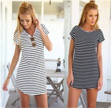 F20258A Latest cheap dress designs comfortable round neck stripe dress t shirt dress women