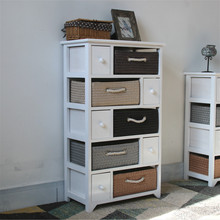 Cupboard Chest of Drawers White Grey 8 Wicker Baskets Shabby Chic Bathroom household wooden storage cabinets