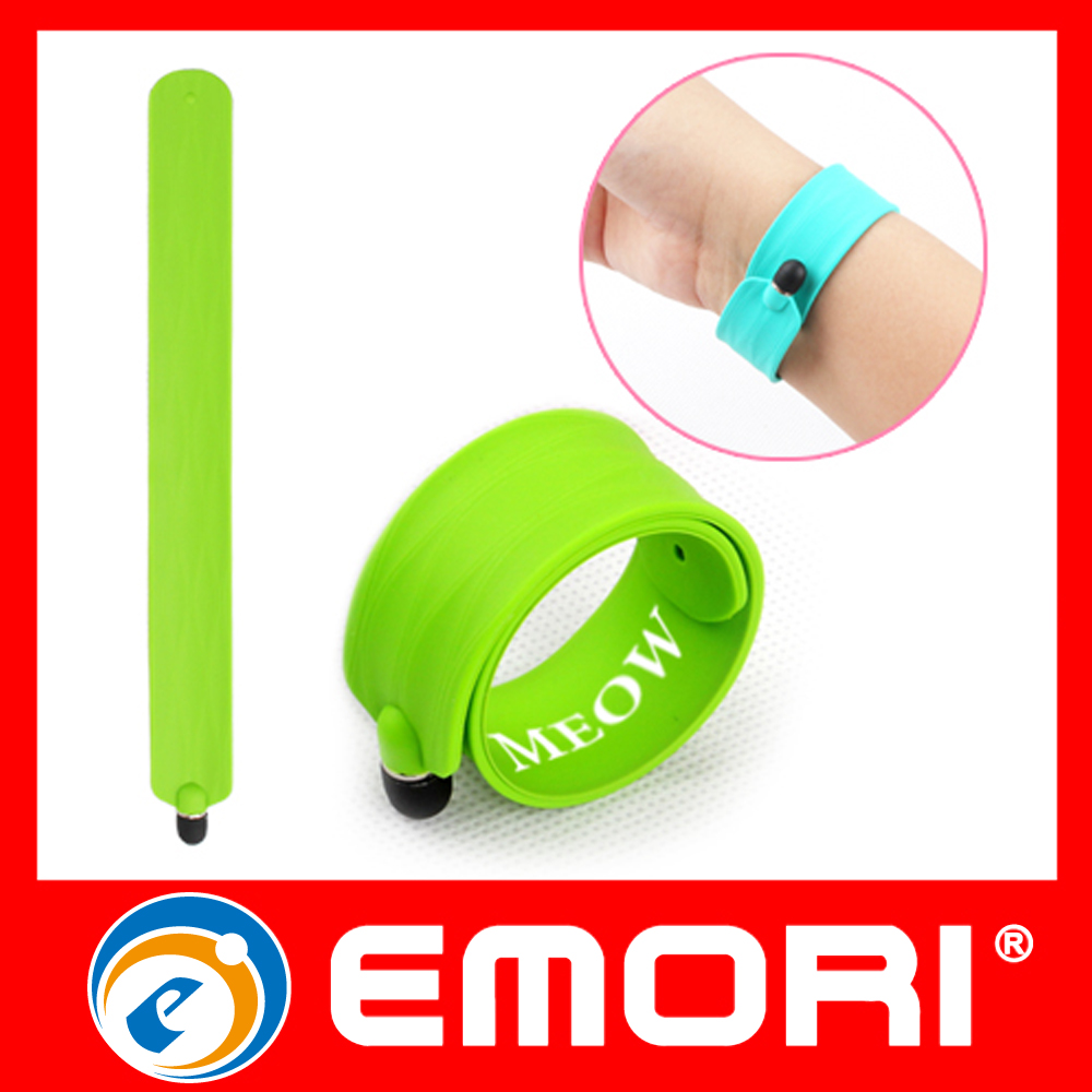 Corporate Gift Unisex Flexible Silicone Slap Band With Phone Touch Pen