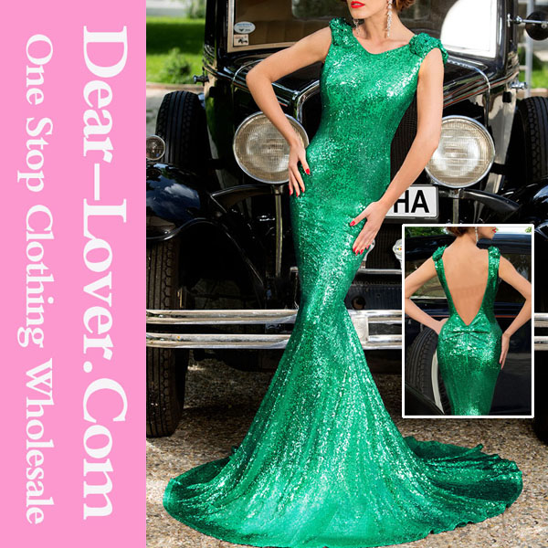 Customized 2016 pregnant Big Bow Accent Green Full Sequin cheap prom dresses
