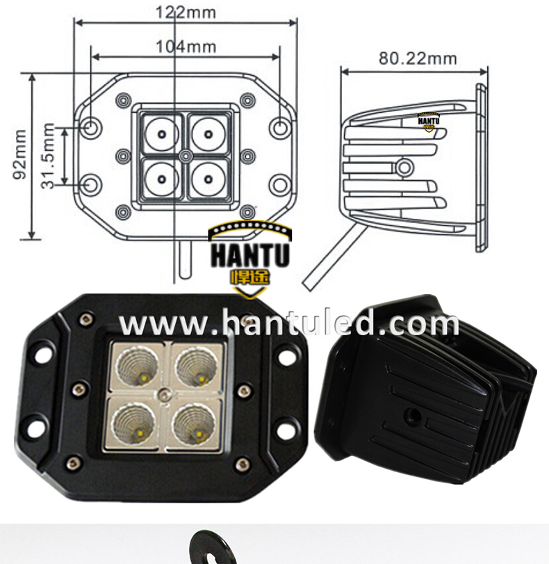 3.2inch square small led work light