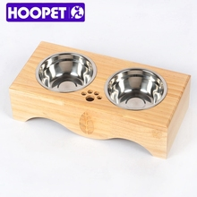 Double Wooden Support Stainless Steel Pet Bowl Dog Food Feeder Set