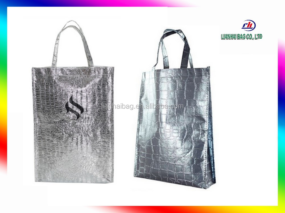 Best quality tote bag Metallic non woven bag for shopping and advertising