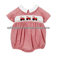 Red Micro Gingham Tractor Smocked Bubble Bodysuit