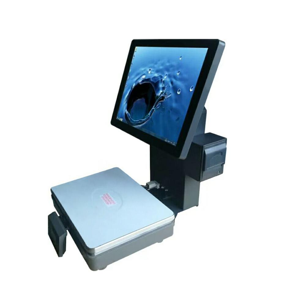 New 15 inch LCD display cash register scale with 58mm built-in thermal printer with 15kgs <strong>weighting</strong> for fruit shops
